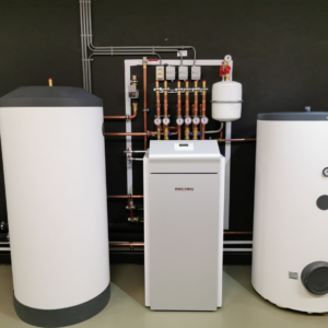 Stiebel Eltron warmtepomp in de showroom van Albreco